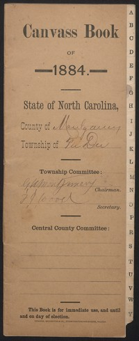 Canvass Book of Pee Dee Township, 1884.