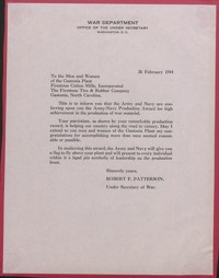 """Letter Granting Army-Navy """"E"""" production Award to Firestone Mill"""