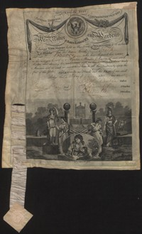 Membership Certificate (and explanation) issued by St. John's Lodge No. 1