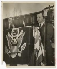 "Harold Mercer Accepting Army-Navy ""E"" production Award"
