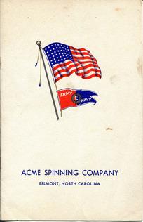 """Army-Navy """"E"""" production Award Ceremony Program for Acme Spinning Company"""
